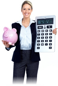 Business Woman with Calc and Piggy Bank3